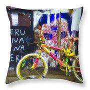 Neon Bike Throw Pillow