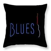 Neon Blues Throw Pillow