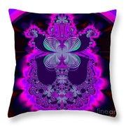 Neon Butterflies And Rainbow Fractal 137 Throw Pillow