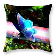 Neon Butterfly Throw Pillow
