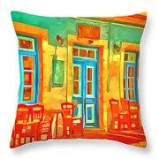 neon Cafe Throw Pillow