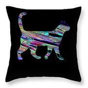 Neon Cat Cool Throw Pillow