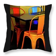 Neon Chairs 1 Throw Pillow