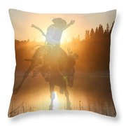 Neon Cowboy Throw Pillow