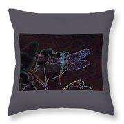 Neon Dragon Fly Throw Pillow