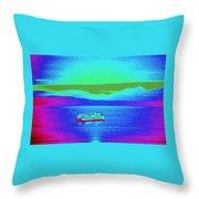 Neon Ferry Throw Pillow