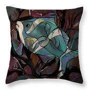 Neon Fish Throw Pillow
