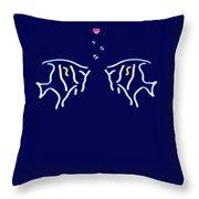 Neon Fish Love Throw Pillow