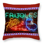 Neon Frijoles And Peppers And Gas Throw Pillow