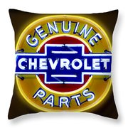Neon Genuine Chevrolet Parts Sign Throw Pillow