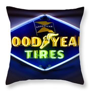 Neon Goodyear Tires Sign Throw Pillow