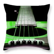 Neon Green Guitar 18 Throw Pillow