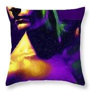 Neon Lights Man Throw Pillow