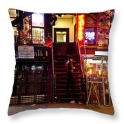 Neon Lights - New York City At Night Throw Pillow by Vivienne Gucwa