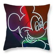 Neon Mickey Throw Pillow