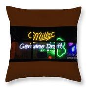 Neon Miller Beer Throw Pillow