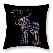 Neon Moose Throw Pillow