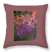Neon Night In Bloom Throw Pillow