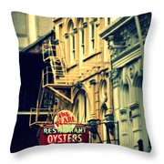 Neon Oysters Sign Throw Pillow