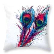 Neon Peacock Throw Pillow