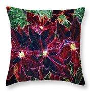 Neon Poinsettias Throw Pillow