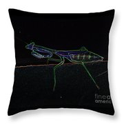Neon Praying Mantis Throw Pillow