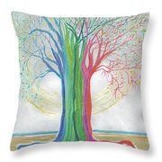 Neon Rainbow Tree By Jrr Throw Pillow