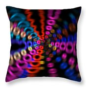 Neon Rave Blur Throw Pillow