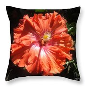 Neon-red Hibiscus 6-17 Throw Pillow