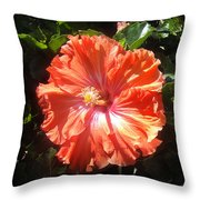 Neon-red Hibiscus Flowers 6-17 Throw Pillow