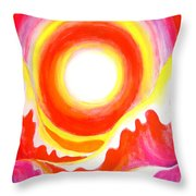 Neon Red Sky And Sea Throw Pillow