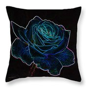 Neon Rose 3 Throw Pillow