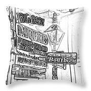 Neon Sign On Bourbon Street Corner French Quarter New Orleans Black And White Photocopy Digital Art Throw Pillow