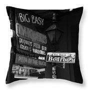 Neon Sign On Bourbon Street Corner French Quarter New Orleans Black And White Throw Pillow
