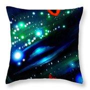 Neon Stars, Green Galaxy And Ufo Throw Pillow
