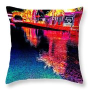 Neon Streets Throw Pillow