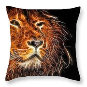 Neon Strong Proud Lion On Black Throw Pillow