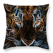 Neon Tigress Throw Pillow