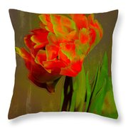 Neon Tulip Throw Pillow
