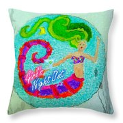Neon Undersea Invitation Girls Night Out Throw Pillow