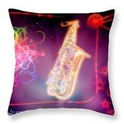 Neons Saxaphone Throw Pillow