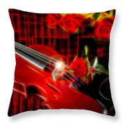 Neons Violin With Roses Throw Pillow