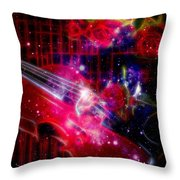 Neons Violin With Roses With Space Effect Throw Pillow