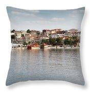 Neos Marmaras Greece Summer Vacation Throw Pillow