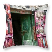 Nepalese Jewelry Shop Throw Pillow