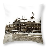 Neptune Casino And Onion-domed Bandstand, Santa Cruz Beach Circa 1904 Throw Pillow
