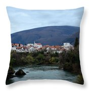 Neretva River And Mostar City And Hills With Mosque Minaret Bosnia Herzegovina Throw Pillow