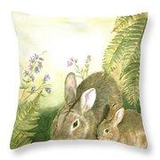 Nesting Bunnies Throw Pillow