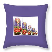 Nesting Doll Poppies Throw Pillow