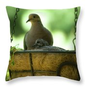 Nesting Doves, Hanging Basket, Balcony Garden, Hunter Hill, May  Throw Pillow